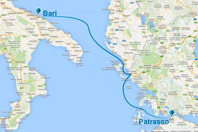 İtalya rotası (Patras - Bari)